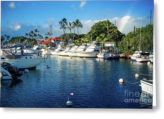 Twilight Rainbow At The Marina Lahaina Harbour Maui Hawaii Greeting Card by Sharon Mau