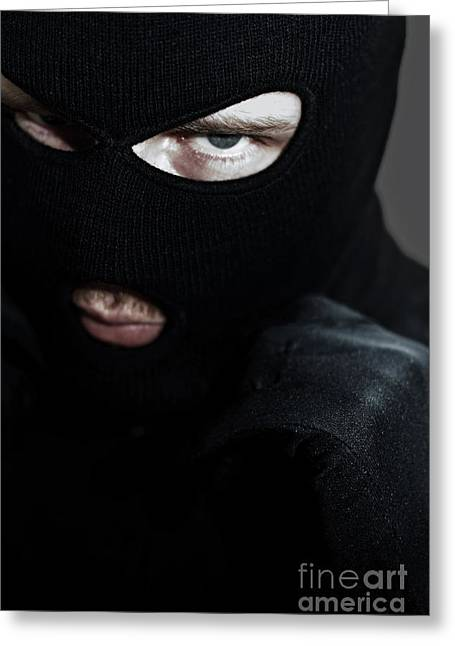 Balaclava Greeting Cards - Twilight Robbery Greeting Card by Ryan Jorgensen