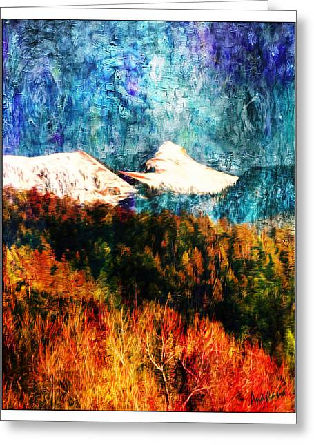 Snow Scene Landscape Greeting Cards - Twilight Storm Sheepshead Peak Greeting Card by Anastasia  Ealy