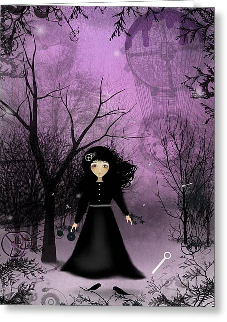 Goth Girl Greeting Cards - Twilight Time Greeting Card by Charlene Zatloukal