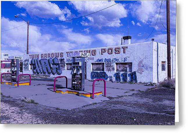 Worn Down Greeting Cards - Twin Arrows Trading Post Greeting Card by Garry Gay