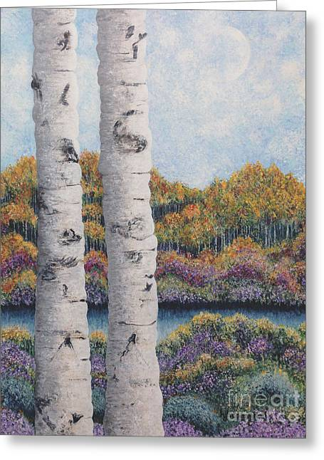 Asters Paintings Greeting Cards - Twin Aspens Greeting Card by Holly Carmichael