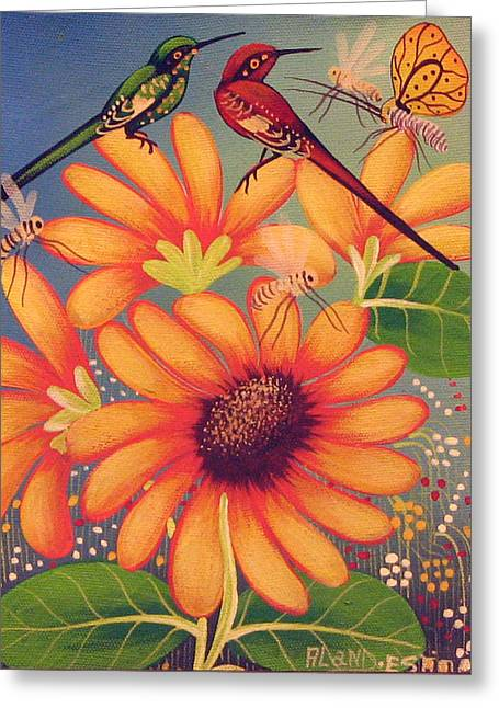 Haitian Greeting Cards - Twin Birds Greeting Card by Aland Estim