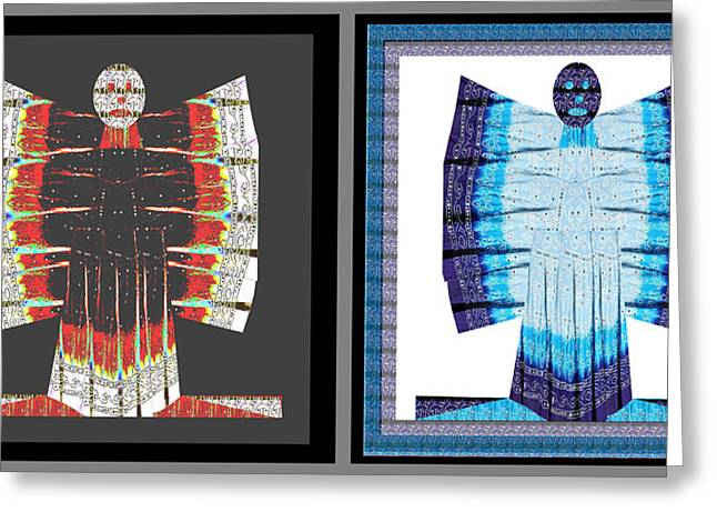 Popular Art Greeting Cards - Twin buttefly sisters one ANGEL other EVIL  Blue Moon Butterfly Womens Fashion Couture from Jaipur  Greeting Card by Navin Joshi