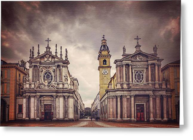 Twin Churches Of Turin  Greeting Card by Carol Japp