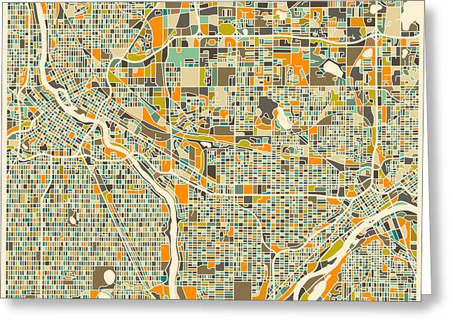 TWIN CITIES Greeting Card by Jazzberry Blue