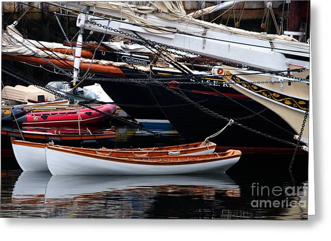 Historic Schooner Greeting Cards - Twin Dorys Greeting Card by Jim Beckwith