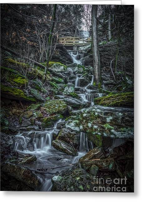 Devils Den Greeting Cards - Twin Falls II Greeting Card by Larry McMahon