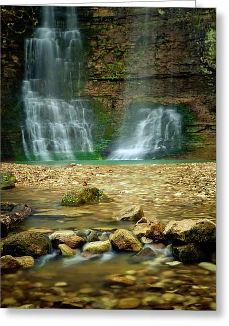 Arkansas Greeting Cards - Twin Falls Greeting Card by Iris Greenwell
