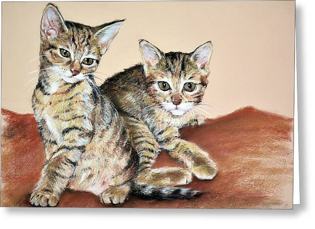 Twin Kittens Greeting Card by Christopher Reid