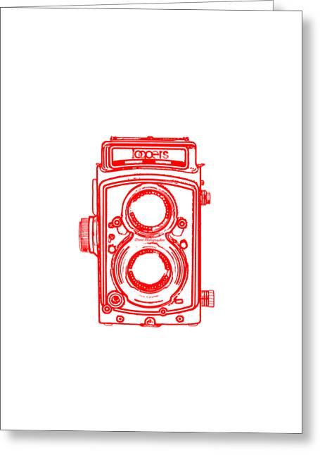 Equipment Drawings Greeting Cards - Twin lens camera Greeting Card by Setsiri Silapasuwanchai