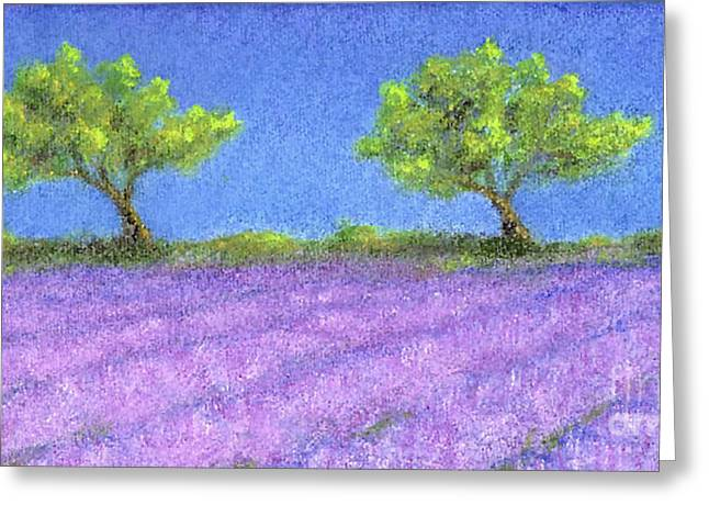 Twin Oaks And Lavender Greeting Card by Jerome Stumphauzer
