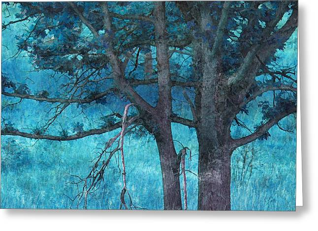 Dry Brush Greeting Cards - Twin Oaks Greeting Card by Bonnie Bruno