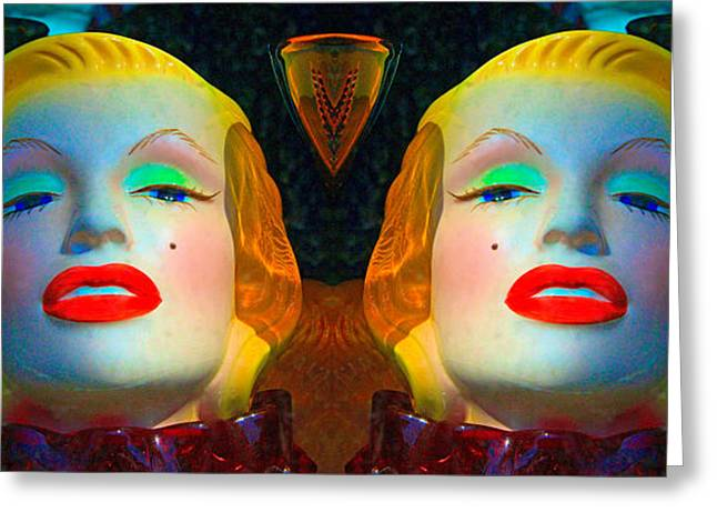 Twin Sexy Red Ripe Lips Greeting Card by Robert Frank Gabriel