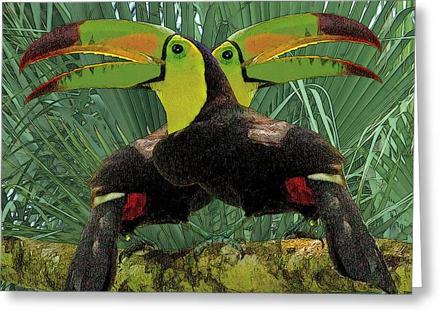 Twin Toucans Greeting Card by Larry Linton