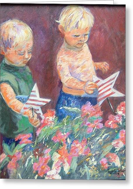 4th July Paintings Greeting Cards - Twins on 4th of July Greeting Card by Carole Weis