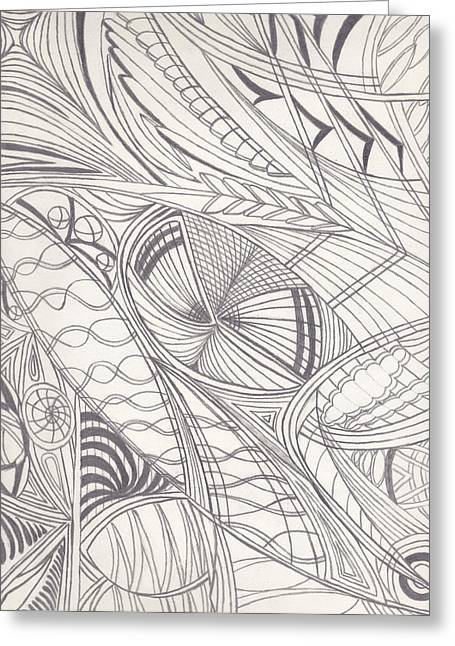 Repetition Drawings Greeting Cards - Twisted Dimensions Greeting Card by Laurie Gibson