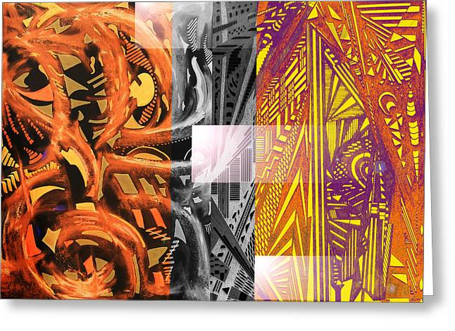 Abstract Digital Mixed Media Greeting Cards - Twisted Steel Greeting Card by B and C Art Shop