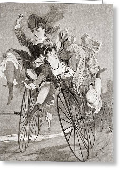 Ladies Bike Greeting Cards - Two 19th Century Ladies Have An Greeting Card by Ken Welsh