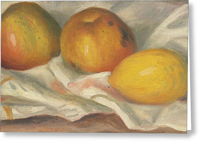 Lemon Art Greeting Cards - Two Apples and a Lemon Greeting Card by Pierre Auguste Renoir