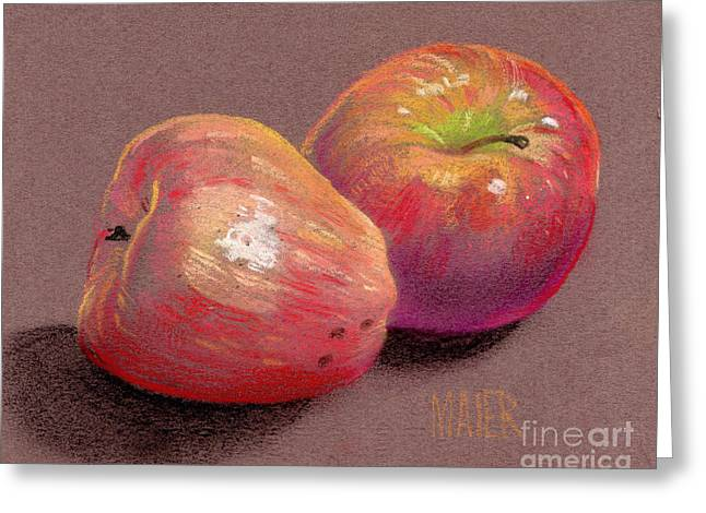 Crisp Drawings Greeting Cards - Two Apples Greeting Card by Donald Maier
