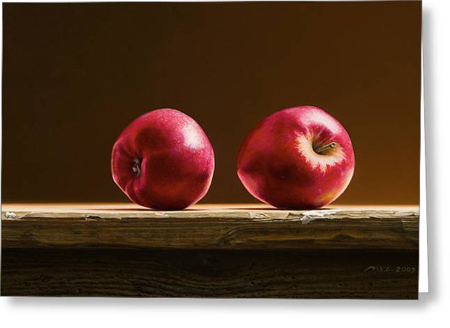 Photorealism Greeting Cards - Two Apples Greeting Card by Mark Van crombrugge