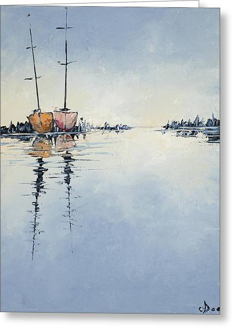 Ocean Sailing Greeting Cards - Two At Rest Greeting Card by Carolyn Doe