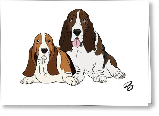 Basset Drawings Greeting Cards - Two Bassets Greeting Card by Rachel Barrett