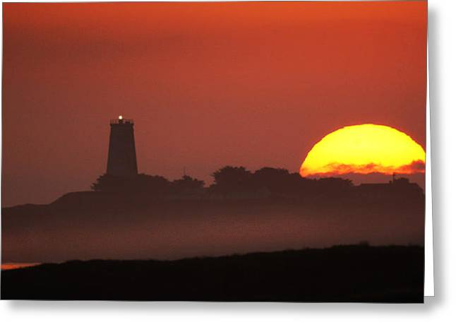 Piedras Blancas Lighthouse Greeting Cards - Two Beacon Lights Greeting Card by Roger Lyon