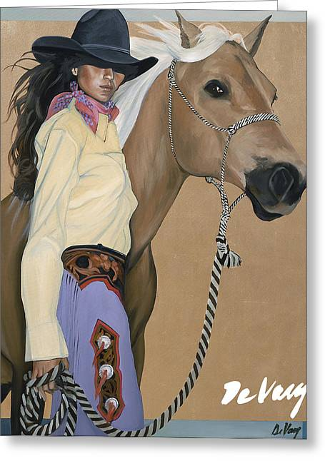 Original Cowgirl Greeting Cards - Two Beautiful Ladies Greeting Card by David DeVary