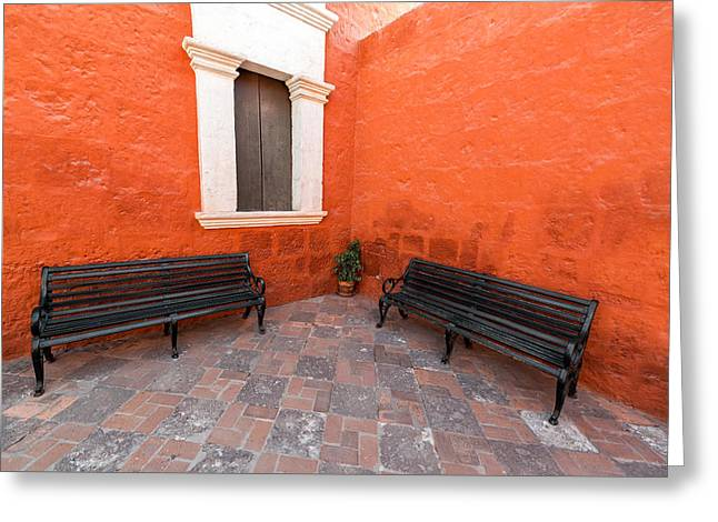 Catherine White Greeting Cards - Two Benches in a Monastery Greeting Card by Jess Kraft
