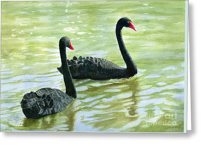 Black Swans Greeting Cards - Two Black Swans Greeting Card by Sharon Freeman