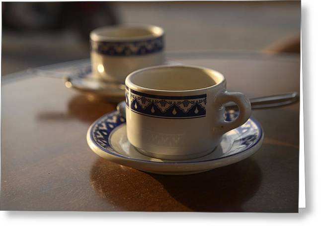 Two Coffee Cups Greeting Cards - Two Blue And White Coffee Cups Greeting Card by Stephen Alvarez