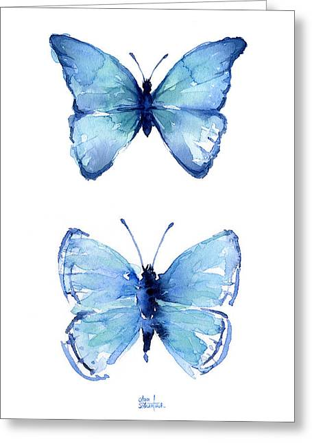 Two Blue Butterflies Watercolor Greeting Card by Olga Shvartsur