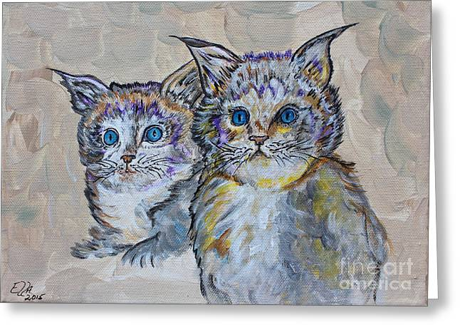 Pussy Mixed Media Greeting Cards - Two Blue Eyed Kittens - Colorful Art by Ella Greeting Card by Ella Kaye Dickey