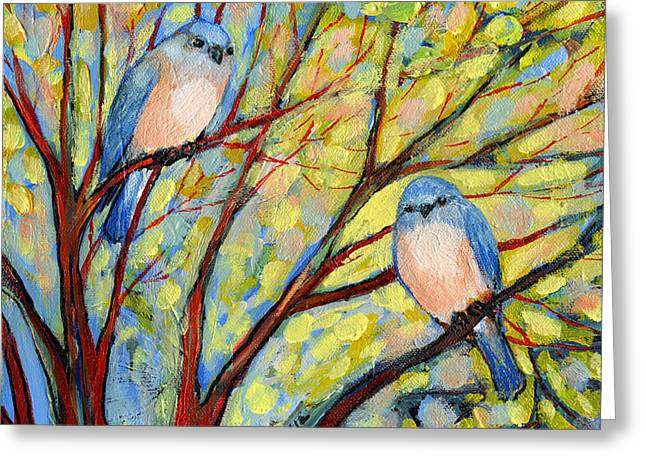 Yellow Trees Greeting Cards - Two Bluebirds Greeting Card by Jennifer Lommers