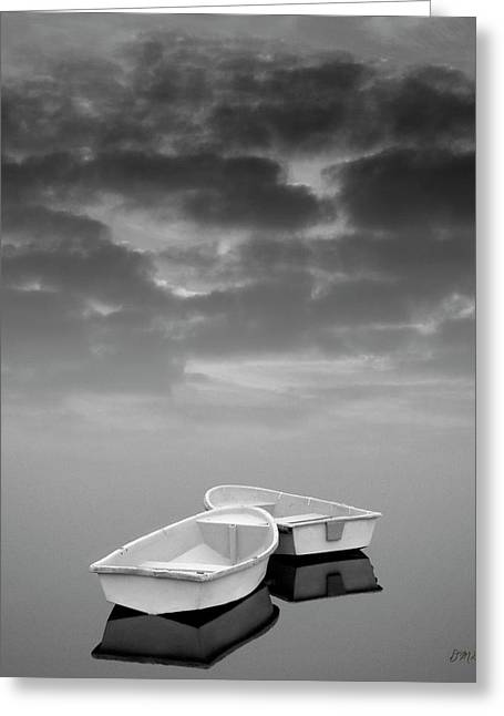 Reflecting Water Greeting Cards - Two Boats and Clouds Greeting Card by Dave Gordon