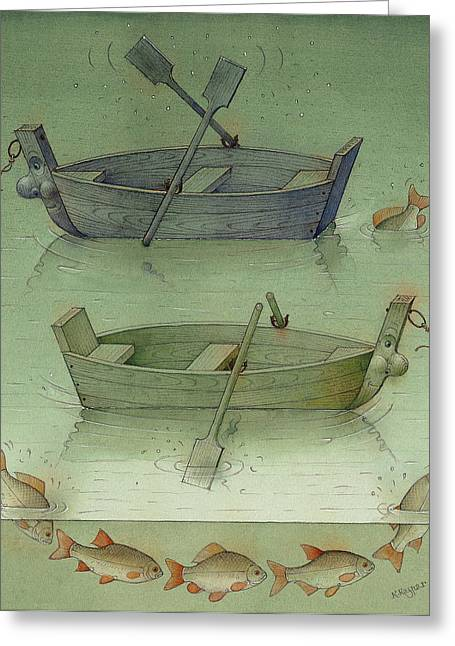 Two Boats Greeting Card by Kestutis Kasparavicius