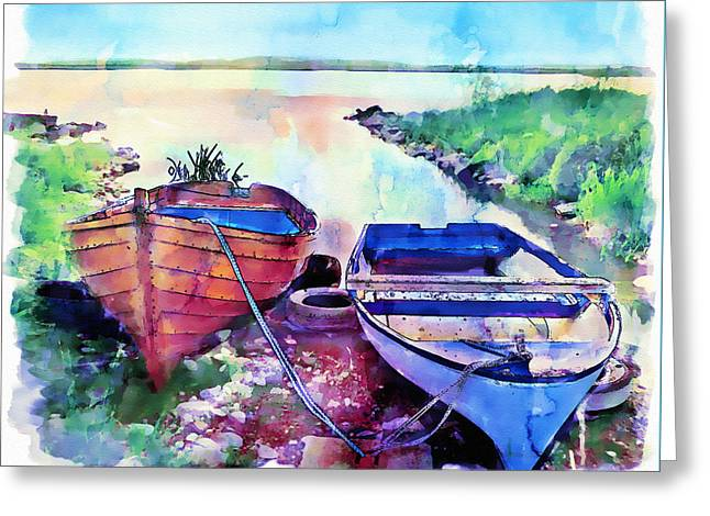 Two Boats On A Shore Greeting Card by Marian Voicu