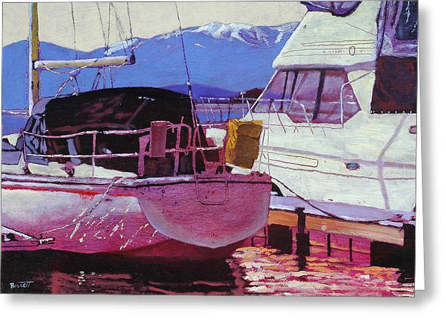 Schweitzer Greeting Cards - Two Boats Greeting Card by Robert Bissett