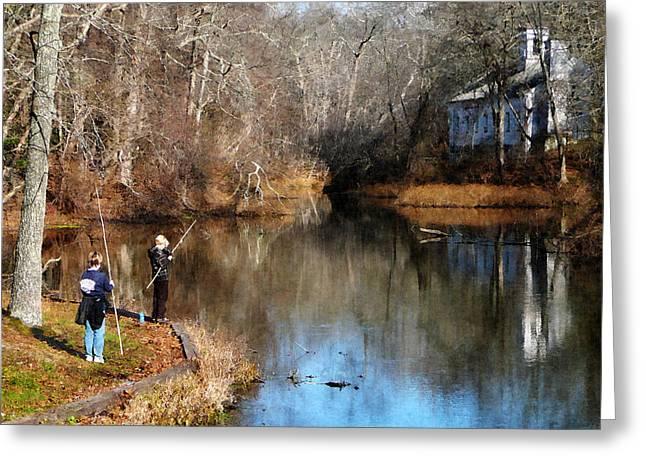 Two Boys Fishing Greeting Card by Susan Savad