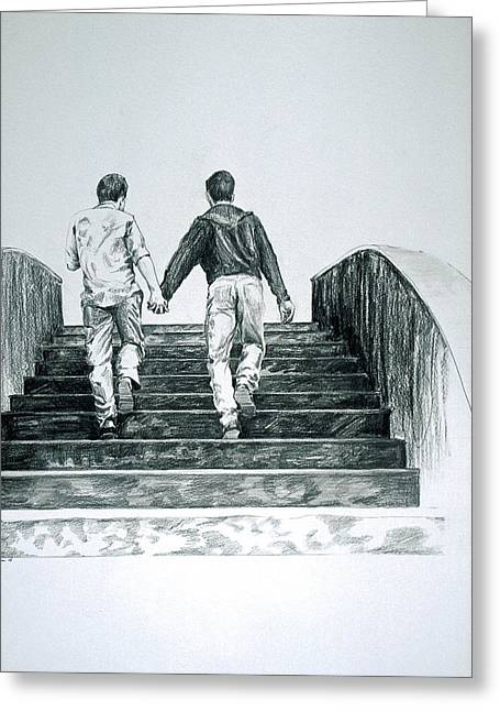 Capone Greeting Cards - Two Boys Greeting Card by Rene Capone