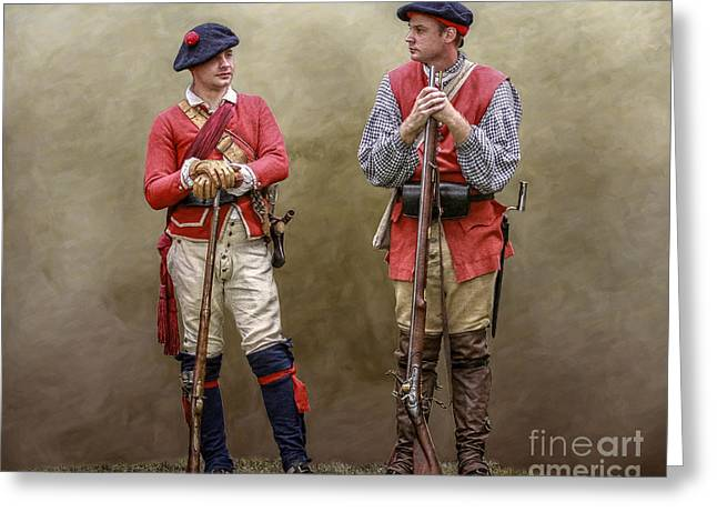 British Defeat Greeting Cards - Two British Soldiers Bushy Run Greeting Card by Randy Steele