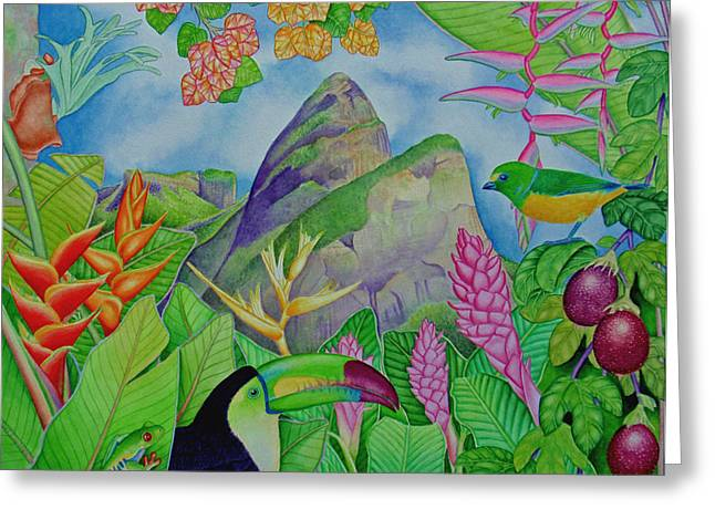 Passion Fruit Paintings Greeting Cards - Two Brothers Ipanema Greeting Card by Joel Carlson