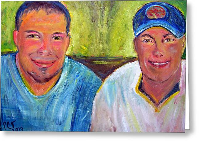 Baseball Shirt Greeting Cards - Two Brothers Greeting Card by Patricia Taylor