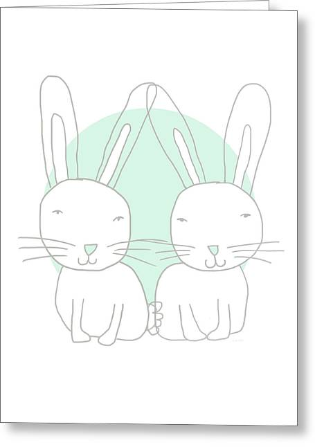 Two Bunnies- Art By Linda Woods Greeting Card by Linda Woods