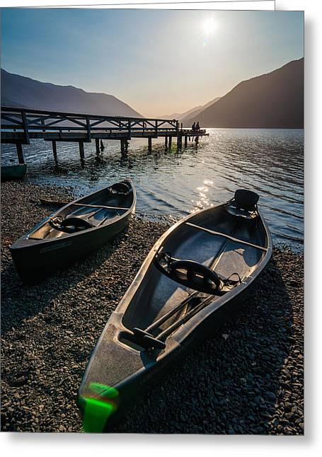 Two Canoe Greeting Card by Kristopher Schoenleber