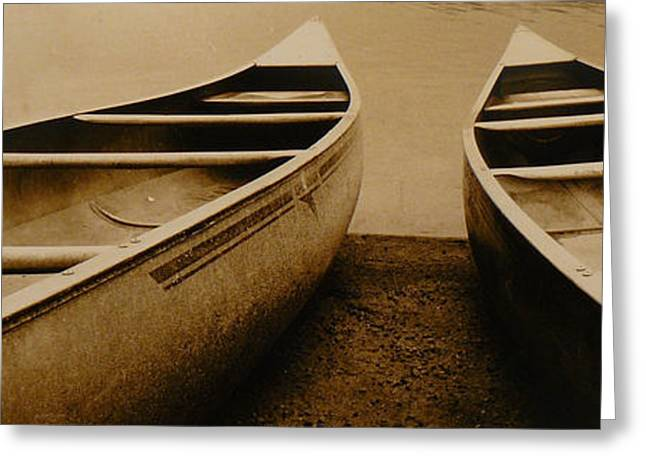 Canoe Greeting Cards - Two Canoes Greeting Card by Jack Paolini