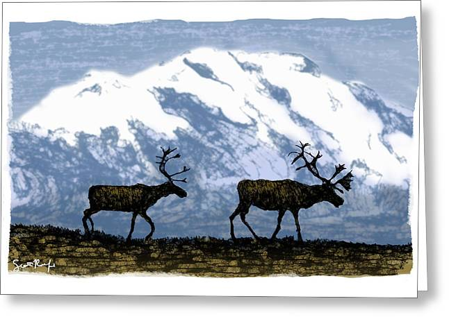 Caribou Greeting Cards - Two Caribou  Greeting Card by Scott Rolfe