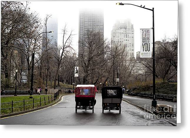 Two Carriages Greeting Card by John Rizzuto